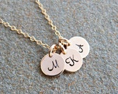 Girlfriend Gift Custom Hand Stamped Necklace Gold Initial Necklace Personalized Necklace Monogram jewelry New Mom gift Grandma Gift