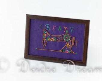 Singer Sewing Machine Art, Doodle Art, Purple Sewing Machine Decor, Inspirational Text Decor, Flower Art, Polymer Clay Wall Hanging