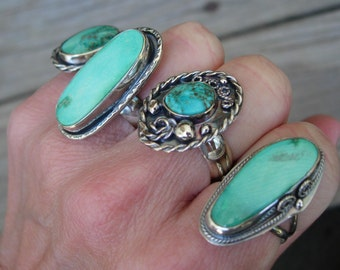 Turquoise Ring, Natural Arizona Kingman Turquoise and sterling silver ring, Wide Band, Silver Ring, Genuine Turquoise