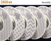 6 Custom Baby Closet Clothes Dividers Organizers in Grey White Elephants Chevrons Dots Stripes CD206 Boy Girl Baby Shower Nursery Gift