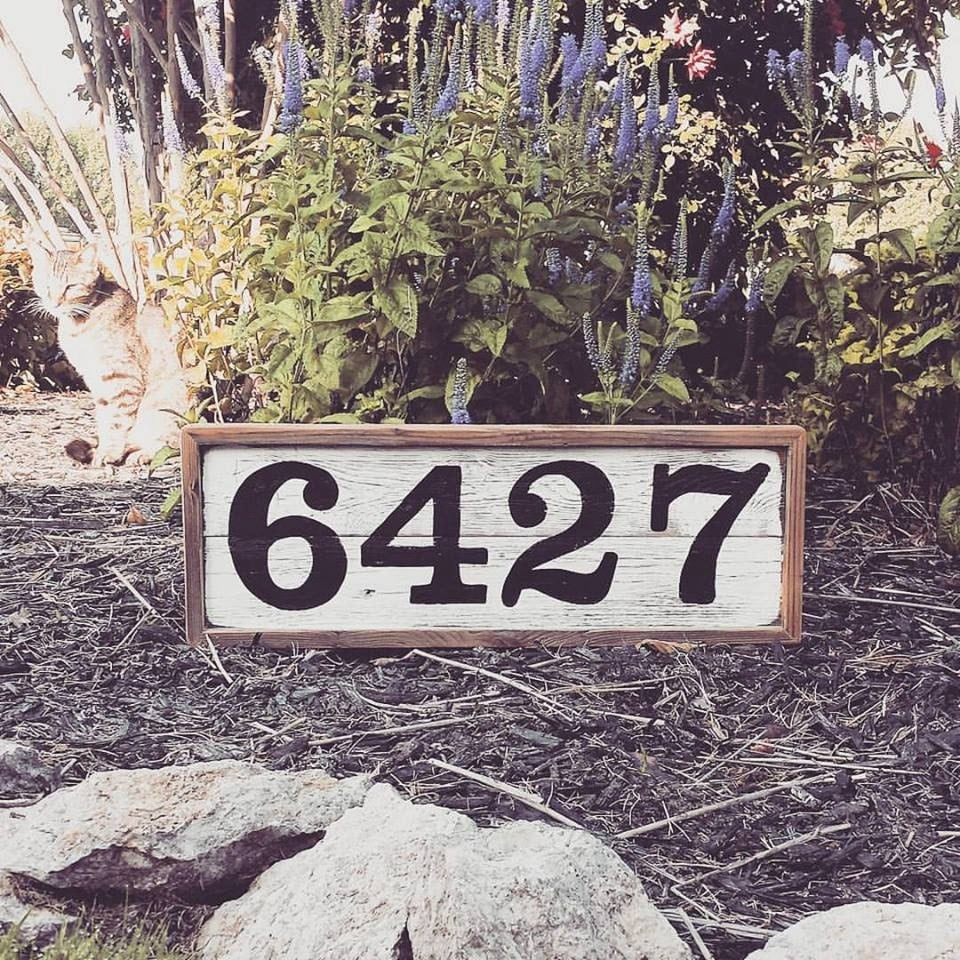 House number wood sign house numbers custom rustic wood - Decorative house number signs ...