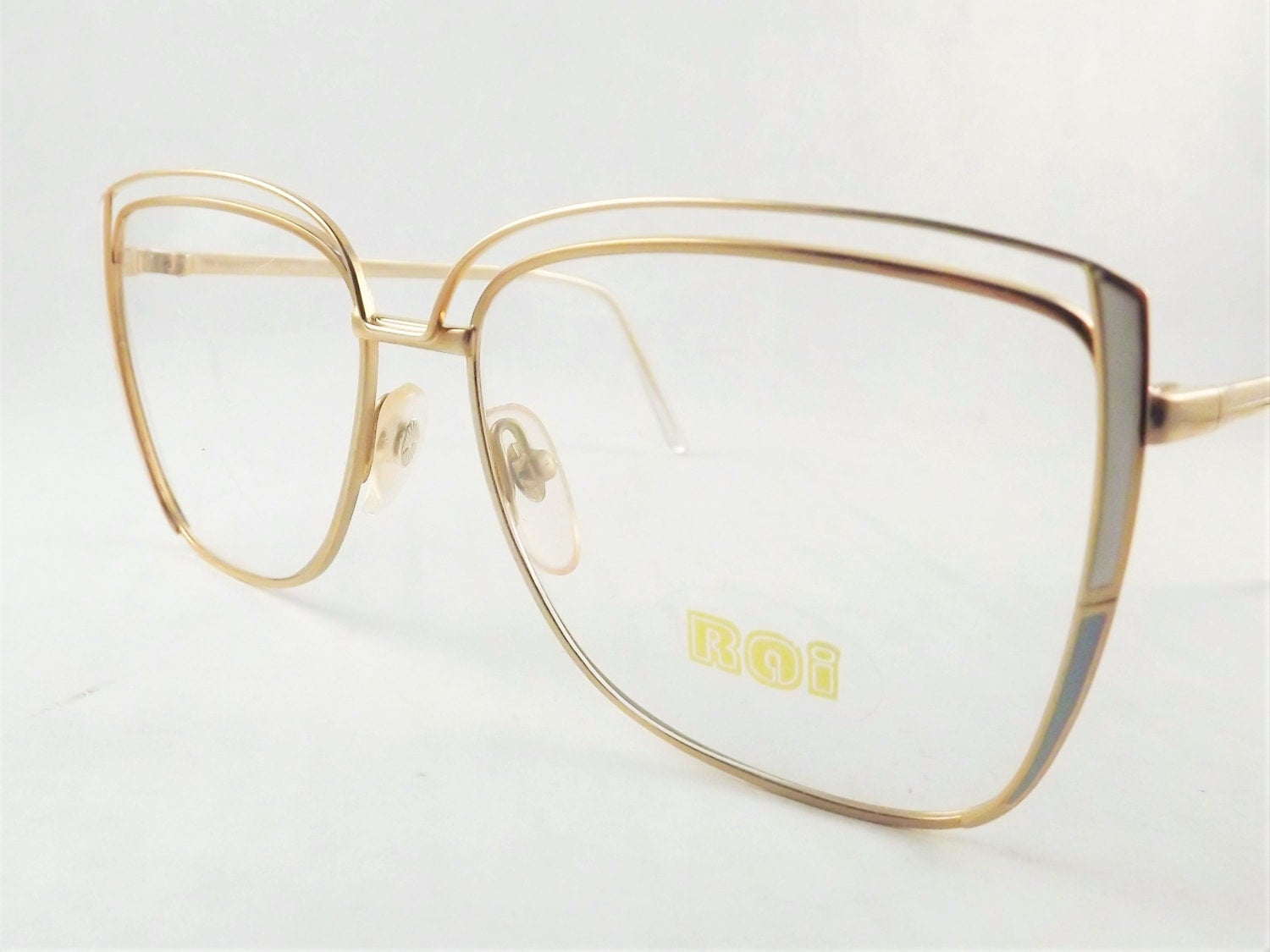 Gold Metal Eyeglass Frames : Womens Big Eyeglasses Gold Metal and White Blue Funky