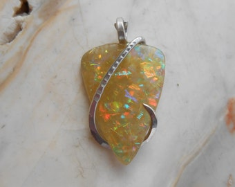 Slocum Opal  Silver Wrapped Pendant