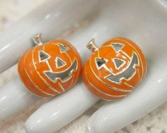 """Vintage Jewelry - Halloween Pierced Earrings - Enamel Jack-o-Lantern Pumpkins - Silver plated - Pierced Post Back Earrings - 5/8"""""""