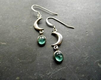 Earring, earrings, sterling silver, moon, aquamarine, hanging earrings