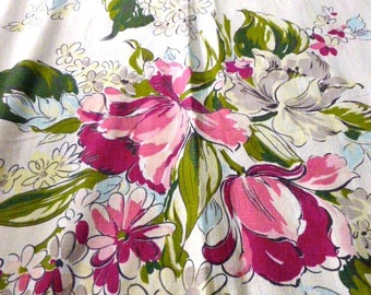 Mid Century Floral Drapery Panel