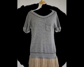 Womens girls clothing gray cotton sweater top - repurposed with skirt S