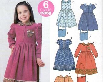 Easy Girls Dress & Purse Pattern - Size 3, 4, 5, 6, 7, 8 - Simplicity 5483 uncut