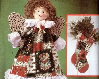 Christmas Craft Pattern- Angel, Stocking, Ornaments, Table Runner, Wreath- Simplicity 0643 uncut