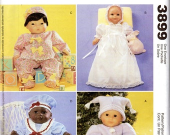 "Baby Doll Clothes Pattern - Small 8""-10"" dolls; Medium 11""-13"" dolls, Large 14""-16"" dolls - McCall's Crafts 3899 uncut"
