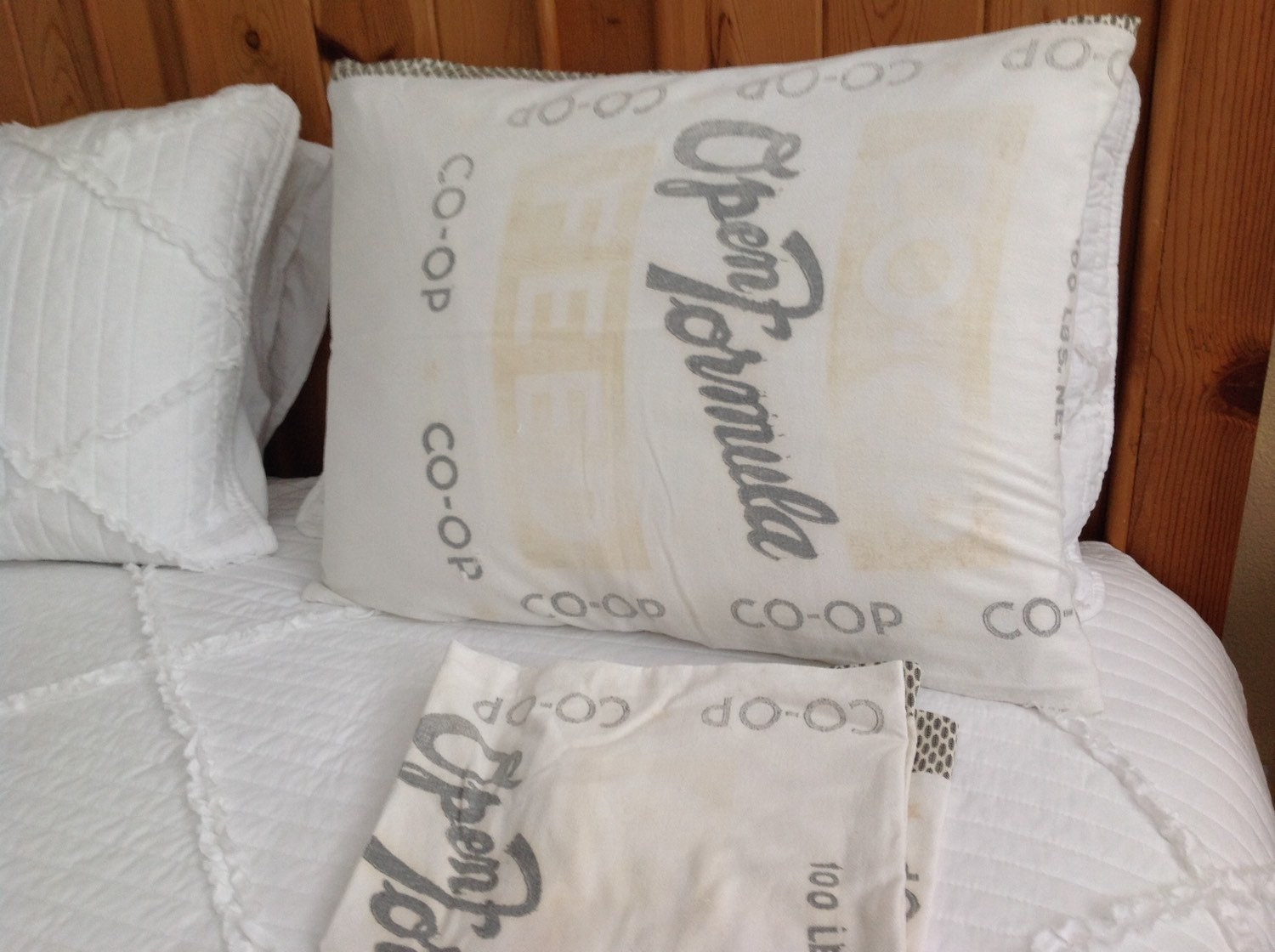 Shabby Chic Bed Pillows : Sale Feed sack pillow shams shabby chic bedding shabby chic