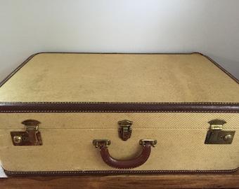 Vintage Tweed Luggage Suitcase