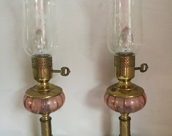 Vintage Pink Glass Marble Based Etched Glass Chimney Lamp Set of Two