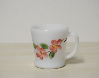 Peach Blossom Mug - Vintage Fire King Milk Glass Cup Gay Fad Pink Flowers Floral / Mid Century Retro Kitchen