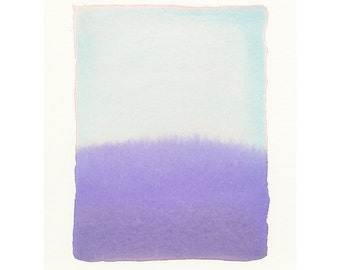 blue to violet, original smaller-scale watercolor painting, art for small spaces
