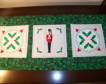 hand made quilted Christmas runner