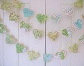 10ft Map Garland - Hearts, Map Paper Garland, Heart Garland, Wedding Garland, Bridal Shower, World Atlas Decoration
