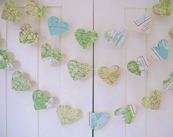 10ft Map Garland - Hearts, Map Paper Garland, Heart Garland, Wedding Garland, Bridal Shower, World Atlas Decoration