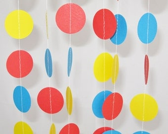 Red Yellow Blue Garland - 10 ft - Children Birthday Party Decoration, 1st Birthday Decor, Circus Party Themed Decoration