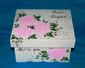 Custom Painted Shabby Chic Wedding Card Box Personalized Wedding Keepsake Box Graduation Gift Box Card Holder Wedding Decoration Wood Gifts