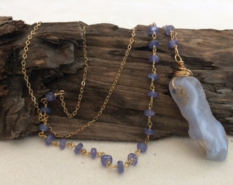 Long, Gold, Asymmetrical, Blue, Beaded Chain Necklace