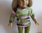 Made To Fit Like American Girl Doll Clothes; Doll Hoodie and Leggings; Camoflage Doll Hoodie and Leggings; Doll Leggings; Doll Sweatshirt