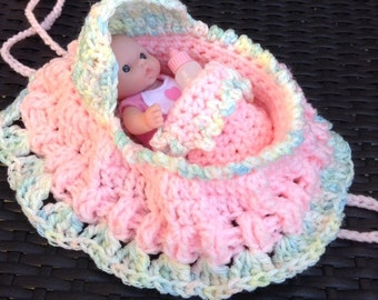 New Adorable crochet cradle purse with doll blanket pillow and baby bottle also called church purse girls purse with doll  READY TO SHIP