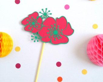 Luau Party Decor - Watermelon Party - Flower Cake Topper - Tropical Wedding - Tropical Cake Topper - Aloha Decor - Tropical Hen Party