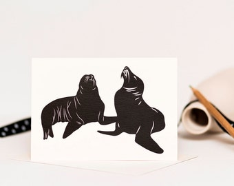Sea Lions Greetings Card - Anniversary Card - Card for Couples - Wedding Card - Engagement Card - Gay Anniversary Card - Animal Lovers Card