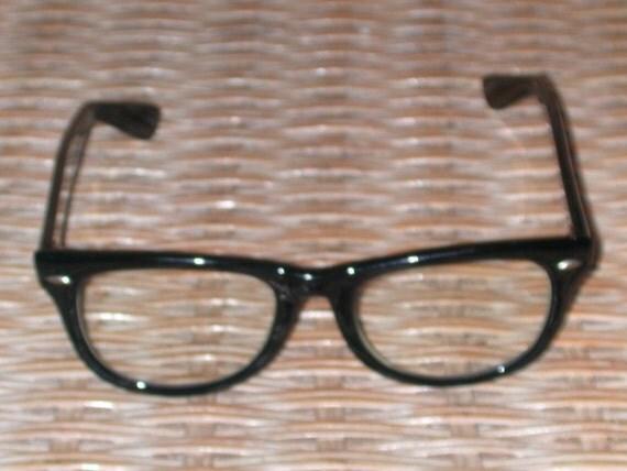 Vintage 50s 60s Buddy Holly Style Black Horn Rimmed Eyeglasses