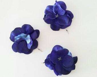 A set of 3 bridal hair pins | Bobby Pins | Navy blue hydrangea bobby pins | Bride and bridesmaids hair accessories