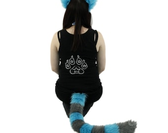 Pawstar Cheshire CAT Ear & Tail Combo - Kitty Ears Headband Neon Pink Purple Turquoise Blue Gray Costume anime cosplay faux fur 4010