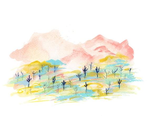Desert Mountains in Pink Archival Print // Desert Art // Desert Illustration // Cactus Art // Cacti Art // Arizona Art // Botanical Art //