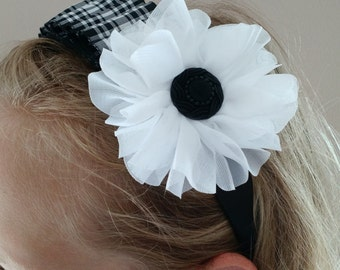 Black and White Plaid Pleated headband