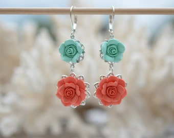 Mint and Coral Orange Rose Earrings, Mint and Coral Flower Earrings, Mint and Coral Wedding Jewelry, Flower Earrings