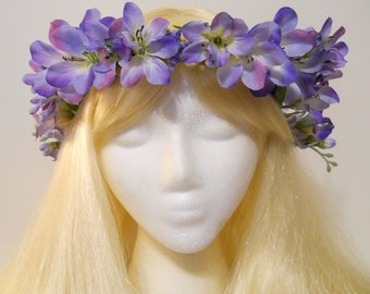 Lavender Purple Pink Flower Crown Pastel Spring Wedding Vine Flower Girl Bridal Music Festival Renaissance Fair Gypsy Purple Fairy Kawaii
