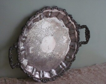 Large Vintage Round Ornate Silver Plate Serving Tray
