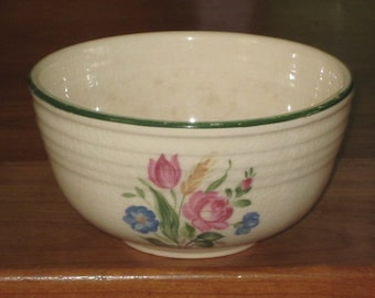 Vintage Green Striped Bake Oven Small Mixing Bowl with Flowers