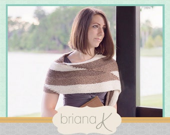 Knit Parallel Wrap PATTERN, Instant Download, Women's Shawl Accessory