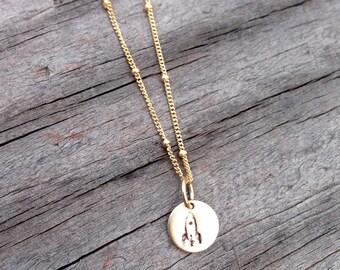 Tiny rocket necklace gold graduation gift handstamped round rocketship charm satellite chain 14kt gold filled