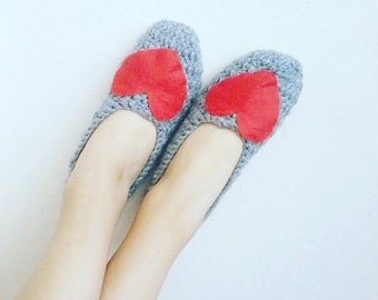 Crochet Slippers,  Women Socks, Red Heart Socks, Girl Socks , Women accessories, Handmade  Gifts, Socks, Foot Wear