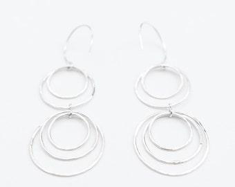 Long silver dangle earrings, Dangle earrings silver, Long hammered sterling silver hoop earrings, Statement earrings