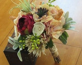 Wedding Bouquet, Sola wood Succulent Bouquet, Ready to ship now,Bouquet, Bridal Bouquet, Sola flowers, Silk Bouquet, Rustic Handmade