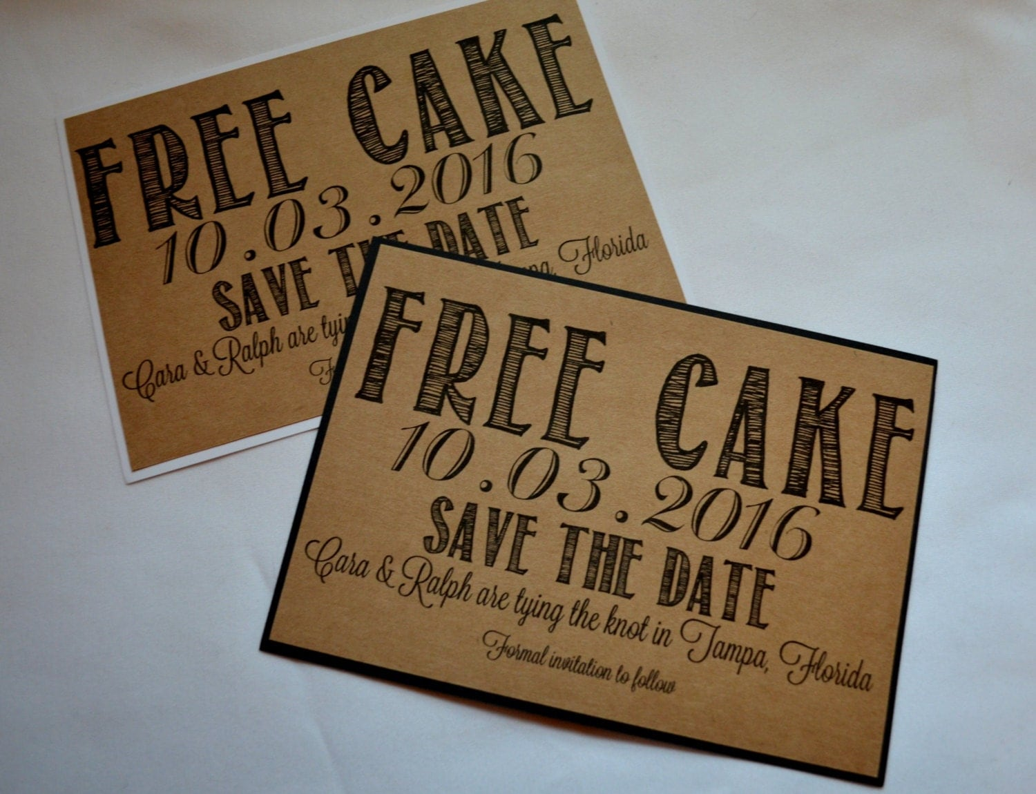 FREE CAKE Save the Date Cards funny kraft rustic savethedate – Birthday Save the Date Cards