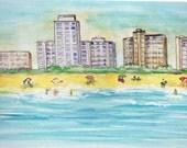 Ocean City, Maryland Art, Beach Vacation Watercolor, Hotel Skyline Picture, Atlantic Ocean Print, Summer Seascape, East Coast