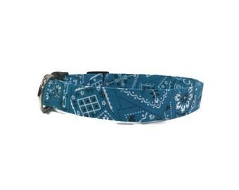 Dog Collar Turquoise Bandana Adjustable Collar Quick Ship