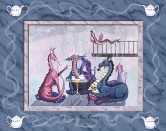 Tea party dragon art print. dragon art print. these fantasy art dragons are called The Tea party
