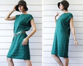 MARIMEKKO vintage green wool knee length sleeveless tunic midi dress 2XL
