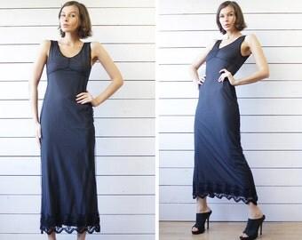 Italian vintage grey black mesh layered fitted sleeveless lace hem maxi dress S M