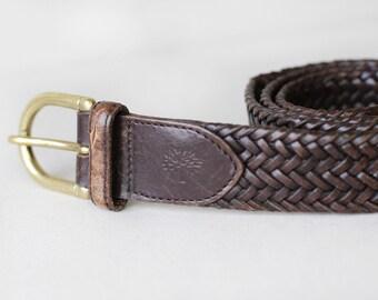 MULBERRY vintage brown leather woven brass metal buckle waist hip belt